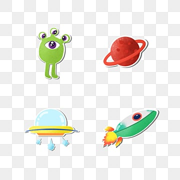 color universe alien stickers, Alien, Planet, Spacecraft PNG and PSD
