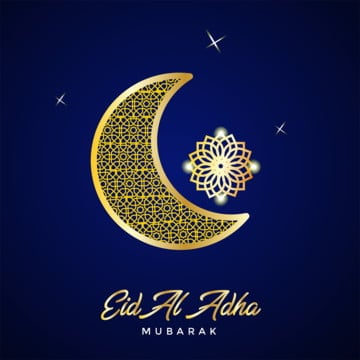 eid al adha with golden moon ornamental, Eid, Adha, Mubarak PNG and PSD