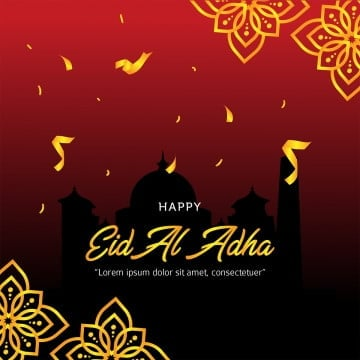 eid al adha with mosque sillhouette and golden confetti, Eid, Adha, Mubarak PNG and PSD