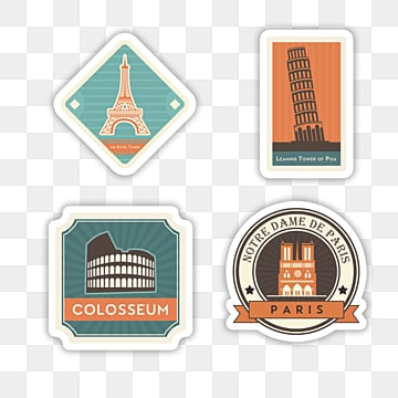 geometric cartoon retro city stamp sticker, Sticker, Decoration, Label PNG and PSD