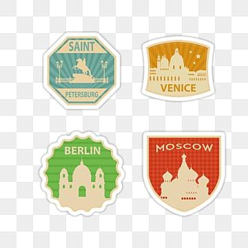 landscape vintage stamp sticker, Sticker, Decoration, Label PNG and PSD