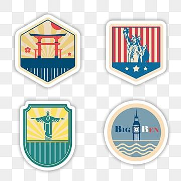 vintage country landmark building stamp sticker, Sticker, Decoration, Label PNG and PSD