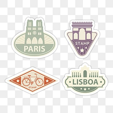 vintage travel stamp sticker, City, Beautiful, Rich PNG and PSD