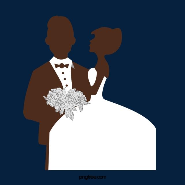 Desenhos Animados Silhueta Preto E Branco Noivo Noiva Ilustracao