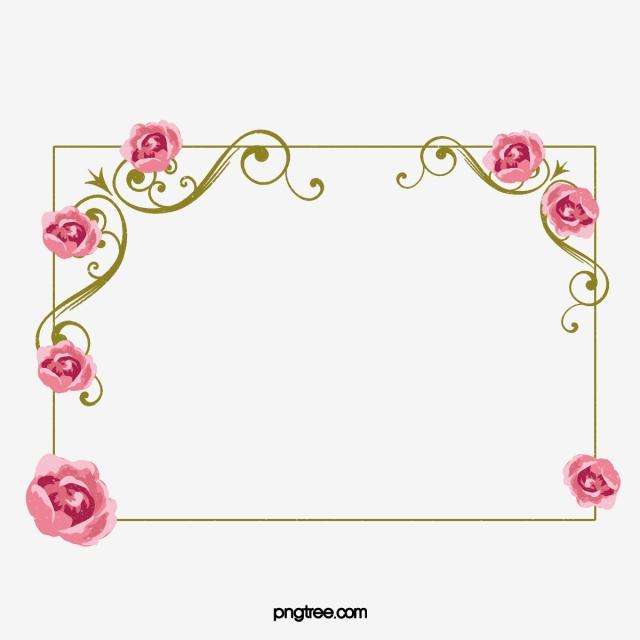 Kartun Bunga Ditarik Perbatasan Bunga Mawar Belukar Bingkai Png Transparan Gambar Clipart Dan File Psd Untuk Unduh Gratis