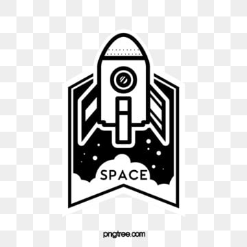 black and white rocket universe creative sticker, Ufo, Space, Flying Saucer PNG and PSD
