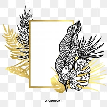 black gold tropical plant border, Golden, Plant, Frame PNG and PSD