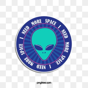 blue geometric round alien sticker, Blue, Geometric, Round PNG and PSD