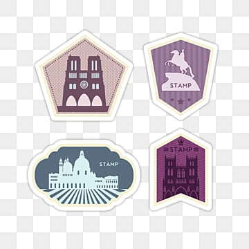 cartoon famous building vintage travel stamp sticker, Color, Sticker, Creative PNG and PSD