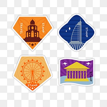 cartoon geometric monuments vintage travel stamp sticker, Color, Sticker, Creative PNG and PSD