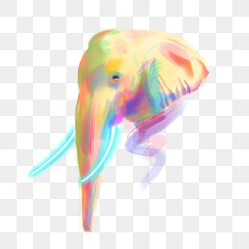 color elephant avatar hand drawn, Color, Yellow, Violet PNG and PSD