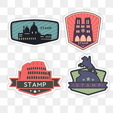 color vintage travel stamp sticker, Color, Sticker, Creative PNG and PSD