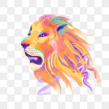 colored yellow lion hand drawn elements, Color, Yellow, Lion PNG and PSD
