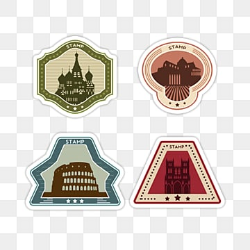 creative stamp vintage stamp travel sticker, Color, Sticker, Creative PNG and PSD