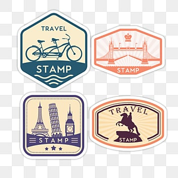 geometric vintage travel stamp sticker, Color, Sticker, Creative PNG and PSD