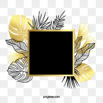 hand drawn black gold tropical plants border, Hand Painted, Black, Golden PNG and PSD