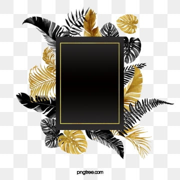 original hand painted luxury black gold plant border, Copyrighted, Hand Painted, Luxurious PNG and PSD
