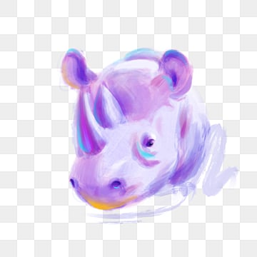 purple cute rhinoceros hand drawn elements, Violet, Rhinoceros, Illustration PNG and PSD