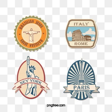 vintage travel vacation stamp sticker, Vintage, Tourism, On Vacation PNG and PSD