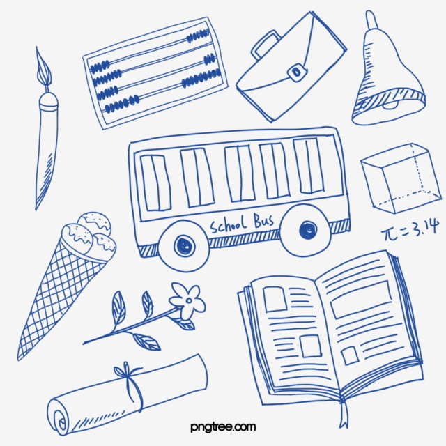 Blue Linear Hand Drawn Campus Learning Elements Hand Account