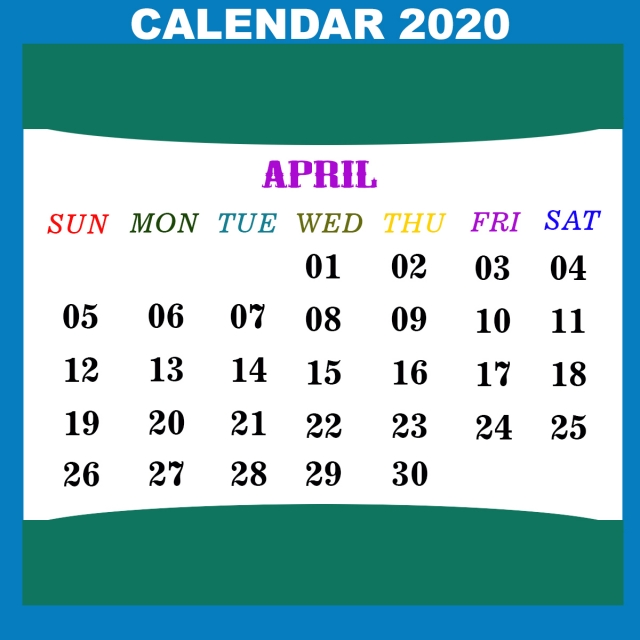 April Calendar 2020, Advertisement Calendar, English ...