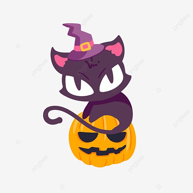 Citrouille D Halloween Chat Mignon Dessin Animé Violet Chat