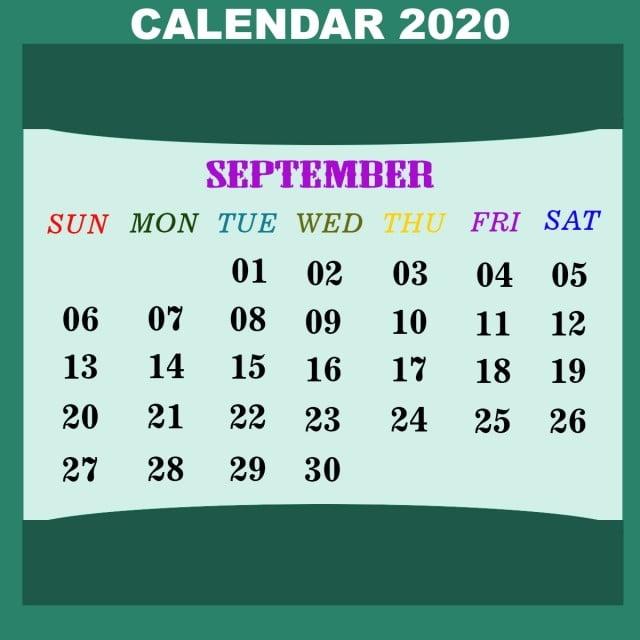 Calendrier De Septembre 2020.Calendrier De Septembre 2020 Calendrier De Septembre 2020