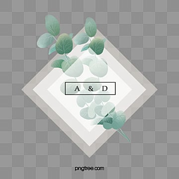 simple hand drawn eucalyptus leaves wedding border text box, Hand Painted, Eucalyptus Leaves, Wedding PNG and PSD