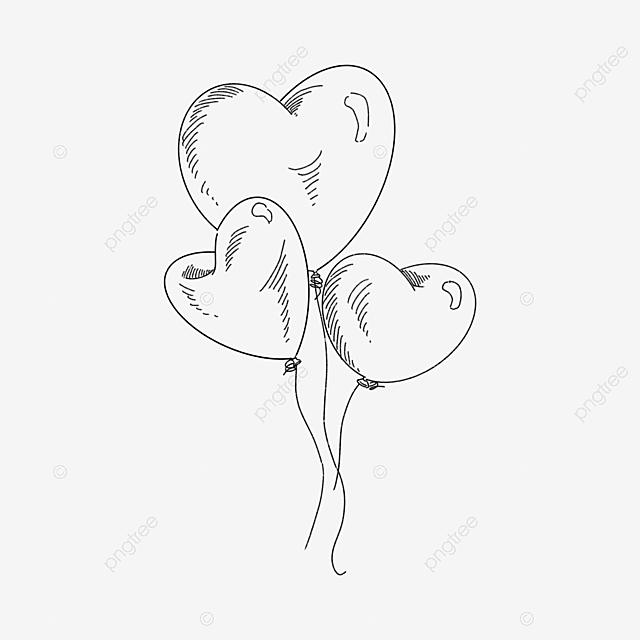 Gambar Tiga Garisan Lukisan Garis Hitam Yang Diletakkan Di Sekeliling Garisan Belon Musim Luruh Cinta Hati Png Dan Psd Untuk Muat Turun Percuma