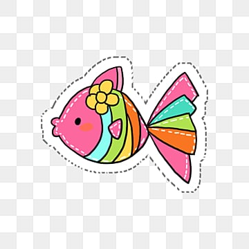 a cartoon colored fish swimming, Fish, Goldfish, Cartoon PNG and PSD