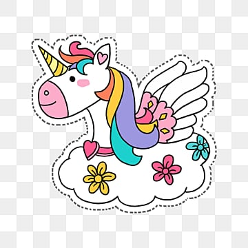 cartoon cute colorful unicorn flying on white clouds, Color, Unicorn, Wing PNG and PSD