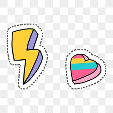cartoon cute yellow lightning and colorful love, Cartoon, Yellow, Lightning PNG and PSD