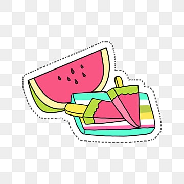 colorful cartoon summer watermelon elements, Color, Cartoon, Lovely PNG and PSD