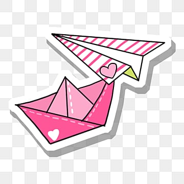 pink origami airplane and paper boat, Pink, Paper Boat, White PNG and PSD