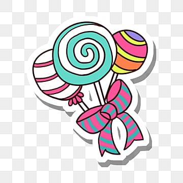 three colored lollipops wrapped with ribbons, Food, Food, Candy PNG and PSD