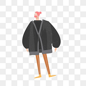 cartoon black coat model male illustration, Simple, Texture, Creative PNG and PSD