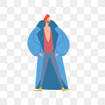 cartoon blue coat male illustration, Overcoat, Simple, Texture PNG and PSD