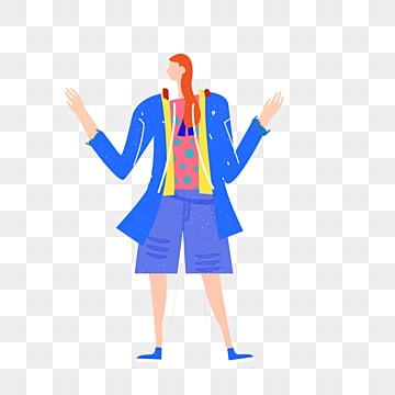 cartoon blue coat shorts female model illustration, Shorts, Blue, Simple PNG and PSD