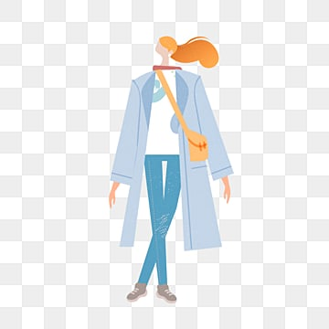 cartoon blue trench coat female model illustration, Simple, Texture, Creative PNG and PSD