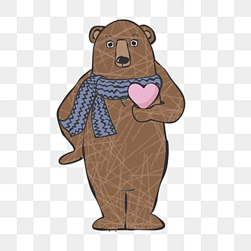 cartoon brown bear love hand drawn elements, Cartoon, Lovely, Hand Painted PNG and PSD