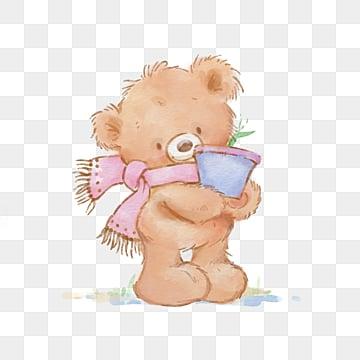 cartoon brown bear pink scarf flowerpot element, Little Bear, Scarf, Flower Pot PNG and PSD
