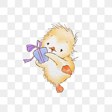 cartoon cute yellow duckling gift box element, Duck, Yellow, Gift PNG and PSD
