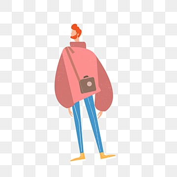 cartoon hand drawn backpack male model illustration, Backpack, Model, Hand Painted PNG and PSD