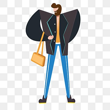 cartoon hand drawn black coat male model illustration, Hand Painted, Copyrighted, Simple PNG and PSD