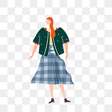 cartoon hand drawn blue plaid skirt illustration, Plaid, Skirt, Exquisite PNG and PSD