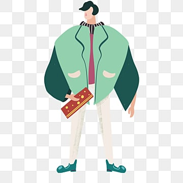 cartoon hand drawn green coat male model illustration, Model, Hand Painted, Copyrighted PNG and PSD