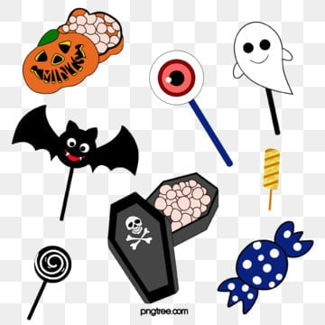 cartoon hand drawn halloween candy, Lollipop, Wave Plate Sugar, Festive Candy PNG and PSD