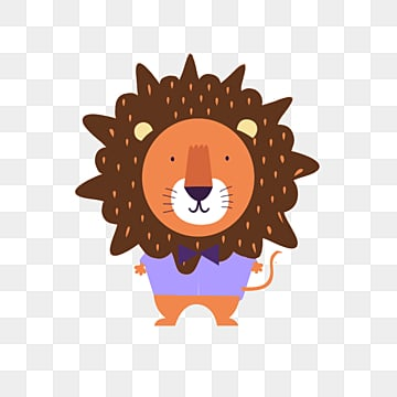 cartoon hand drawn lion cute elements, Lion, Violet, Brown PNG and PSD
