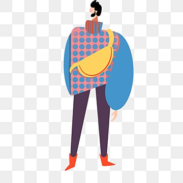 cartoon hand drawn yellow backpack male model illustration, Model, Backpack, Hand Painted PNG and PSD