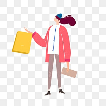 cartoon red coat hand drawn female illustration, Loose Coat, Red, Shopping Bag PNG and PSD